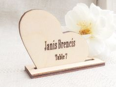 """Wood heart place cards made from wood, laser cut.  * Dimension: heart: 5cm / 2"""" x 4.5cm / 1.8"""", thickness 3mm / 0.12"""". wood heart base: 6cm / 2.4"""" x 19mm / 0.75"""", thickness 3mm / 0.12"""". * 10 peaces. * Materials: wood."""