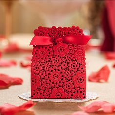 10X Luxury Wedding Favours Candy Sweets Boxes Bags Table Decorations - Red Lace