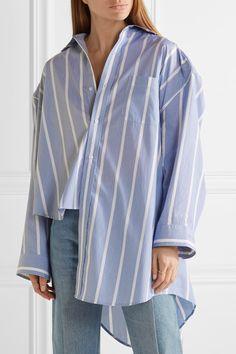 Vetements   Oversized asymmetric striped cotton-poplin shirt   NET-A-PORTER.COM