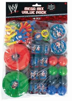 WWE Mega Mix Value Pack by Amscan. $9.19. Includes (8) mini prism viewers, (8) mini hand clappers, (8) maze puzzles, (8) plastic balls, (8) keychain discs and (8) flying discs.. Includes (8) mini prism viewers, (8) mini hand clappers, (8) maze puzzles, (8) plastic balls, (8) keychain discs and (8) flying discs. This is an officially licensed WWE product.