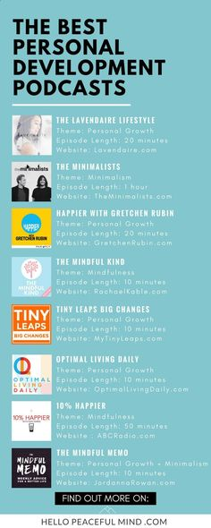 Best personal development podcasts for 2017. This list includes podcasts about mindfulness, personal growth, minimalism, happiness and more. Go to HelloPeacefulMind... to get more details on each one of them!