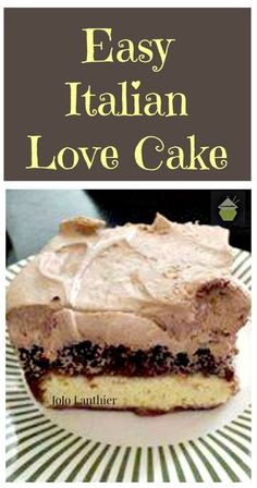 Easy Italian Love Cake. This is incredibly easy to make and tastes so good! Layers of chocolate cake, cheesecake and a great easy chocolate frosting too.