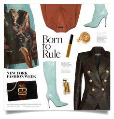 """What to Wear to NYFW"" by marina-volaric ❤ liked on Polyvore featuring Prada, E L L E R Y, Balmain, Yang Li, Chloé, Bobbi Brown Cosmetics and NYFW"