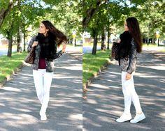 Sofia Gafforio, Finnish Italian beautiful blogger outfit street style camo white brunette girl Louis Vuitton Damier Ebene Neverfull MM