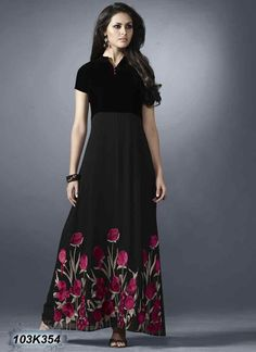 Immaculate Black Coloured Georgette and Velvet Kurti