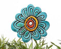 ceramic garden art  garden decor   plant stake  jade by GVEGA, €19.00