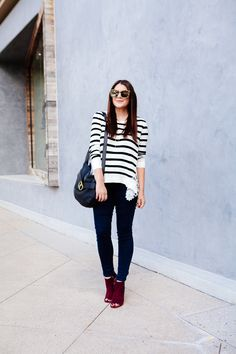 Striped lace sweater with skinny denim and burgundy booties.