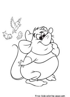 Printable disney characters Cinderella's Mice and Birds coloring pages