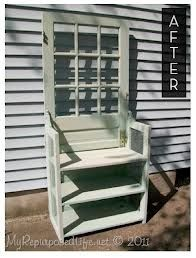 Repurposed screen door garden bench