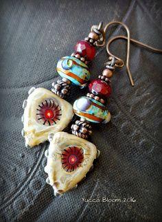 Lampwork Glass, Lampwork Headpins, Funky, Murrine, Organic, Rustic, Earthy, Aztec, Beaded Earrings by YuccaBloom on Etsy