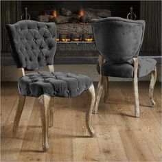 Noble House Chandler Tufted Fabric Dining Chairs in Grey (Set of 2)