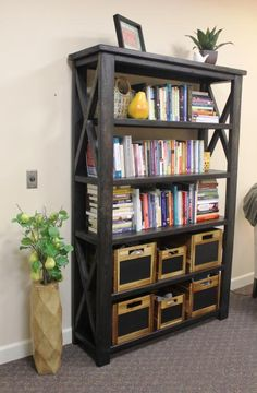 Rustic X Book Case | Do It Yourself Home Projects from Ana White
