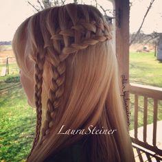 Ladder braid: A waterfall braid into a lace braid. | @hair_by_ laurasteiner on Instagram.