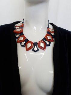 Vintage 70's YVES SAINT LAURENT Paris French Bakelite Galalith Statement Bib Necklace in Red,Blue and Silver Diamond Design - Signed Blue And Silver, Red And Blue, Plastic Jewellery, Yves Saint Laurent Paris, Disco Fashion, Resin Necklace, Diamond Design, Rope Chain, Silver Diamonds