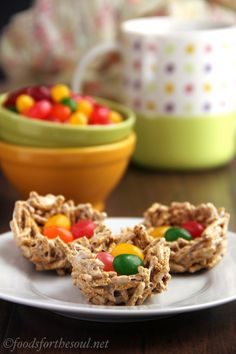 Easter candy nests -- made from a healthier version of rice krispie treats!