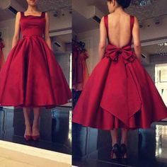 homecoming dresses,Backless Prom Dress,Bowknot Prom Dress,Midi Prom Dress,Fashion