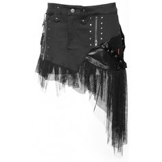 Gothic skirt from the women's clothing collection by Queen of Darkness, black cotton with PVC details and mesh. Detailed with zippers and rivets.7 each
