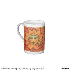 """""""The Sun"""", fantasy art, orange and red colors Tea Cup #sun, #face, #sunface, #orange, #celestial, #solar, #sol, #invictus, #folklore, #folkart, #fairytale, #art, #painting, #drawing, #red,  #solstice, #midsummer, #slavic, #pastel, #pastels, #soft, #colorful, #pagan, #ornated, #russian, #style, #illustration, #summer, #spring, #golden, #smiling, #fantasy, #mythology, #burning, #shining, #yellow"""