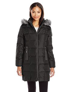 XQS Womens Faux-Fur Collar Open Front Quilted Thick Winter Camo Down Jacket Coat