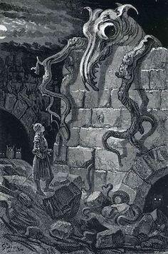 "brudesworld: "" The Gnarled Monster by Gustave Dore, 1870 "" Still sci-fi art. Gustave Dore, Gravure Illustration, Illustration Art, Illustrations, Monster Illustration, Art Sombre, Sci Fi Kunst, Arte Sci Fi, 70s Sci Fi Art"