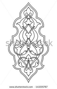 vector damask arabesque flourish element in black and white