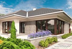 Modern Bungalow Exterior, Modern Bungalow House, Bungalow House Plans, Two Story House Design, Village House Design, Design Your Dream House, Model House Plan, My House Plans, Home Building Design