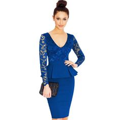 Beautiful Long Sleeve Scoop Lace Short Bodycon Dress - Oh Yours Fashion - 3