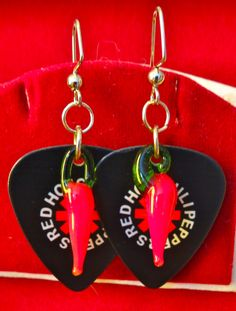 Red Hot Chili Peppers Guitar Pick Dangle Earrings by BOLOGOgems on Etsy