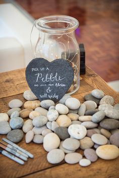Pebble Jar Guest Book Sopley Lake Wedding One Thousand Words #Pebble #Jar #GuestBook #Wedding