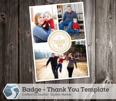 Badge Thank You Card Template - 5x7 and 4x6 Photoshop Templates by SaunterStudios, $8.00