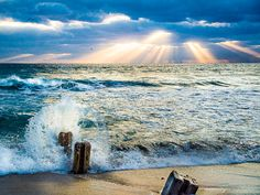 Incredible photo! Great Etsy shop! Waves and sun rays  Photo of waves and by MaryAtenPhotography