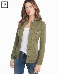 Meet fashion's latest hybrid wardrobe obsession: the shacket...a combination of a shirt and a jacket. Our version is done in the season's most-requested military green hue, rose gold buttons and studs...plus a soft, cotton blend. WHBM | Petites Fashion