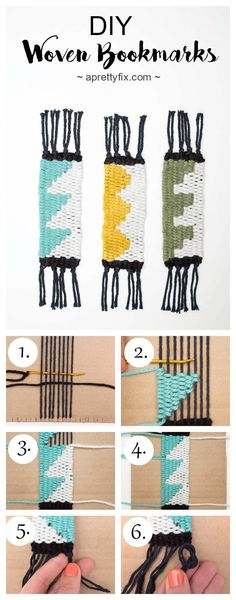 DIY Woven Bookmarks (For Beginners) - A Pretty Fix Learn to weave shapes with these mini DIY woven bookmarks. Weaving For Kids, Weaving Art, Weaving Patterns, Loom Weaving, Tapestry Weaving, Hand Weaving, Stitch Patterns, Knitting Patterns, Diy Marque Page
