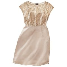 Mossimo® Women's Satin Cap Sleeve Lace Bodice Dress - Champagne is a little too bridal. Red/Pink color may be too dark.  $50
