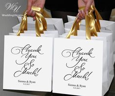 25 Thank you Welcome Bags for Wedding guests with Gold satin