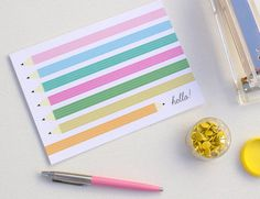 Illustrated Hello Pencil Colorful Blank Greeting by FabiolaMMejia, $5.00