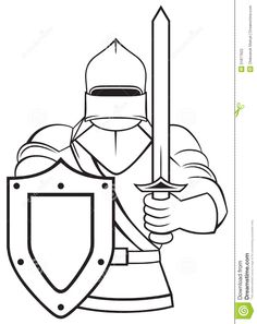 cool black and white line art medieval knight stock photography image 31877622