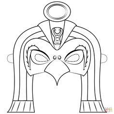Egyptian God Ra Mask coloring page from Masks category. Ancient Egypt Activities, Ancient Egypt For Kids, Ancient Aliens, Ancient History, Egyptian Mask, Egyptian Party, Egyptian Costume, Free Printable Coloring Pages, Coloring Pages For Kids