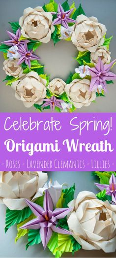 I love the colors and designs of this origami flowered wreath! It would be the perfect wreath for your door to welcome spring! #ad #affiliate #origami #origamiflowers #roses #lillies #wreath #spring #etsy #etsyfinds