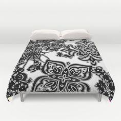 Garden Party Duvet Cover by Vikki Salmela - $99.00 #new #black #white #garden #party #butterflies #spiders #webs #modern #fun #art on #duvet #covers for #bed #bedroom #home #decor #apartment #dorm #accessory by #vikkisalmela