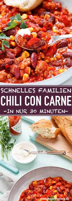 Quick Chili con Carne - ideal for families- Schnelles Chili con Carne – ideal für Familien Fast Families Chili con Carne Meat Recipes, Appetizer Recipes, Crockpot Recipes, Dinner Recipes, Delicious Recipes, Quick Recipes, Dessert Recipes, Healthy Recipes, Breakfast Party