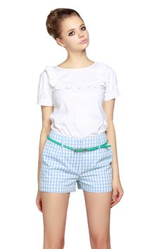 White Short Puff Sleeve Ruffles Top With Plaid Shorts