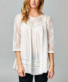 Esley Collection White Sheer Lace Contrast Three-Quarter Sleeve Top | zulily