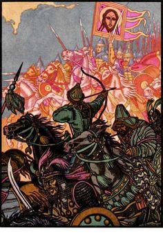 Kulikov Battle, 1935 Ivan Bilibin, Russian Folk, Russian Art, Art Database, Fantasy Illustration, Illustrations And Posters, Illustrators, Folk Art, Fantasy Art
