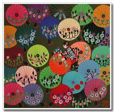 Chinese peasant painting Colorful Umbrellas