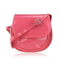 Hoxis FlapTop Candy Color Patent Pu Leather Miniature Crossbody Saddle Bag Girl Shoulder PurseBobby Red * To view further for this item, visit the image link.