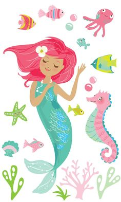 Amazon.com: Wallies 13731 Peel and Stick Mermaid Wall Play: Home & Kitchen