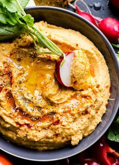 Sweet potato hummus recipe with yams, chipotle in adobo and chickpeas. Delicious, creamy and perfect for veggie dipping. | ifoodreal.com