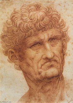 Cabeça de um Homem (2), giz por Leonardo Da Vinci (1452-1519, Italy)