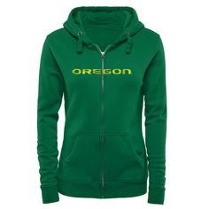 a9339ed5f5f6 Women s Kelly Green Oregon Ducks Classic Primary Logo Full Zip Hoodie  University Of Oregon Athletics